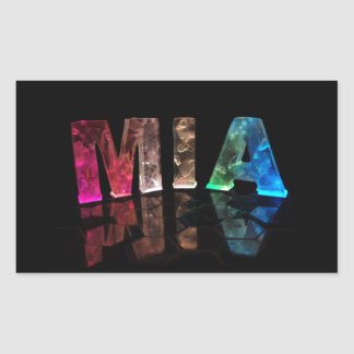 The Name Mia in 3D Lights (Photograph) Rectangular Sticker