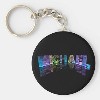 The Name Michael in 3D Lights (Photograph) Basic Round Button Key Ring