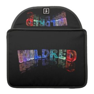 The Name Mildred in 3D Lights (Photograph) Sleeves For MacBook Pro