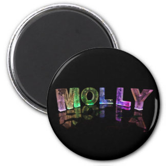 The Name Molly in 3D Lights (Photograph) 6 Cm Round Magnet