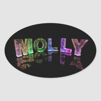 The Name Molly in 3D Lights (Photograph) Oval Sticker