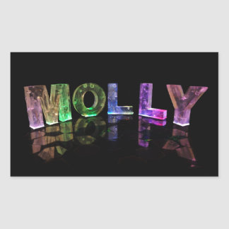 The Name Molly in 3D Lights (Photograph) Rectangular Sticker