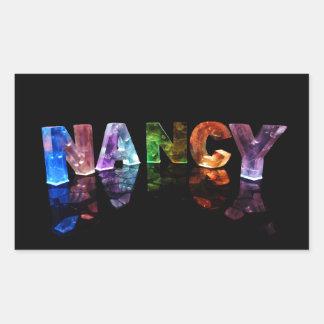 The Name Nancy in 3D Lights (Photograph) Rectangular Sticker