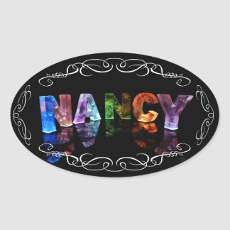 The Name Nancy -  Name in Lights (Photograph) Oval Sticker