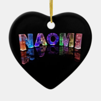 The Name Naomi in 3D Lights (Photograph) Ceramic Heart Decoration