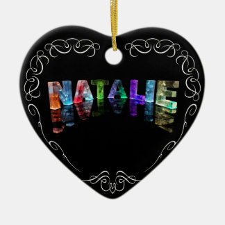 The Name Natalie -  Name in Lights (Photograph) Ceramic Heart Decoration