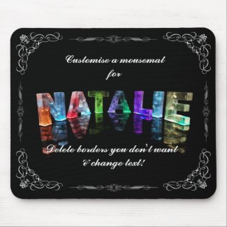 The Name Natalie - Name in Lights (Photograph) Mousepad