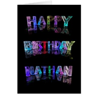 The Name Nathan in 3D Lights (Photograph) Greeting Card