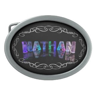 The Name Nathan - Name in Lights (Photograph Oval Belt Buckles