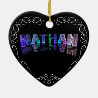 The Name Nathan -  Name in Lights (Photograph) Ceramic Heart Decoration