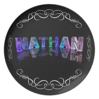 The Name Nathan - Name in Lights (Photograph Dinner Plates