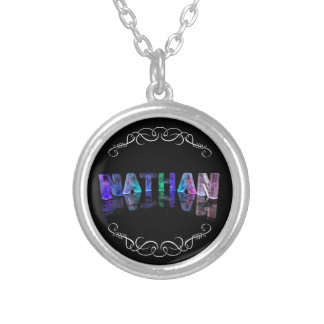 The Name Nathan -  Name in Lights (Photograph Silver Plated Necklace