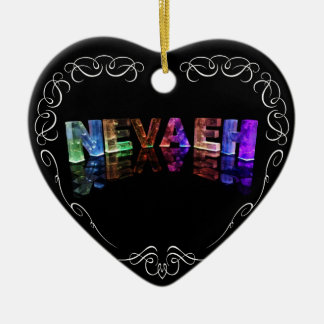 The Name Nevaeh -  Name in Lights (Photograph) Ceramic Heart Decoration