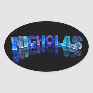 The Name Nicholas in 3D Lights (Photograph) Oval Sticker