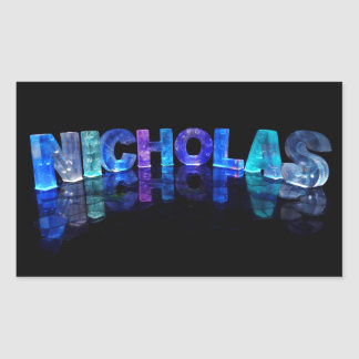 The Name Nicholas in 3D Lights (Photograph) Rectangular Sticker