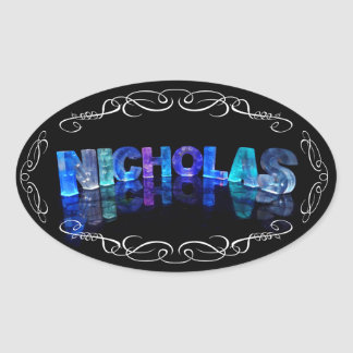The Name Nicholas -  Name in Lights (Photograph) Oval Sticker
