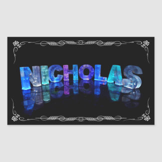 The Name Nicholas -  Name in Lights (Photograph) Rectangular Sticker