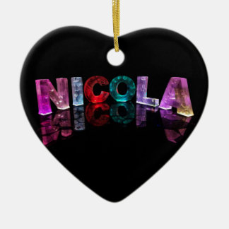 The Name Nicola in 3D Lights (Photograph) Christmas Ornament