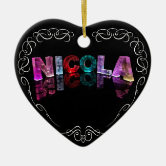 The Name Nicola -  Name in Lights (Photograph) Christmas Ornament