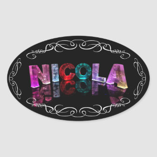The Name Nicola -  Name in Lights (Photograph) Oval Sticker