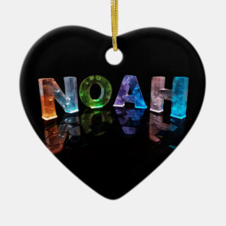 The Name Noah in 3D Lights (Photograph) Ceramic Heart Decoration