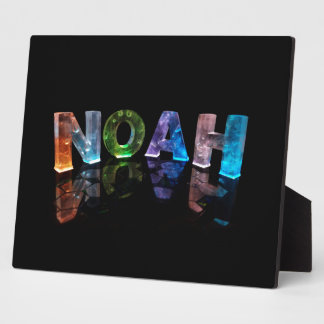 The Name Noah in 3D Lights (Photograph) Plaque