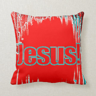 the name of Jesus pillow red