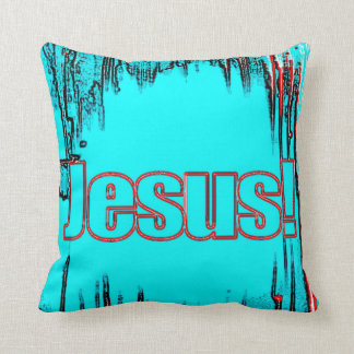 the name of Jesus pillow teal