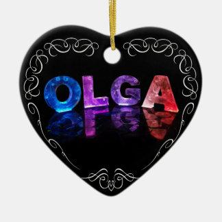 The Name Olga -  Name in Lights (Photograph) Christmas Ornament