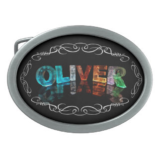 The Name Oliver -  Name in Lights (Photograph) Belt Buckle