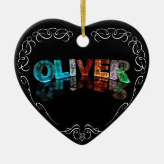 The Name Oliver -  Name in Lights (Photograph) Ceramic Heart Decoration