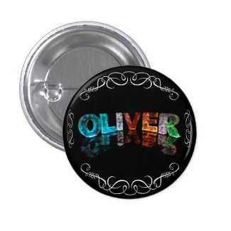 The Name Oliver - Name in Lights (Photograph) Pin