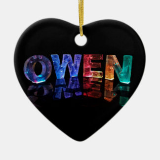 The Name Owen in 3D Lights (Photograph) Ceramic Heart Decoration