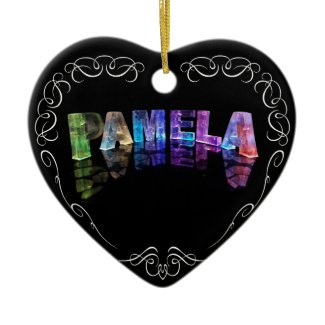 The Name Pamela - Name in Lights (Photograph) Christmas Tree Ornaments
