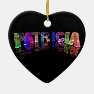 The Name Patricia in 3D Lights (Photograph) Ceramic Heart Decoration