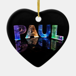 The Name Paul in 3D Lights (Photograph) Ceramic Heart Decoration