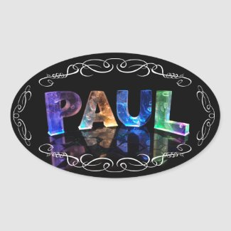 The Name Paul - Name in Lights (Photograph) Oval Stickers