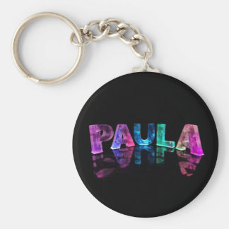The Name Paula in 3D Lights (Photograph) Key Ring