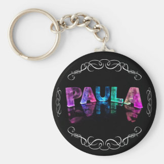 The Name Paula - Name in Lights Photograph Key Chains