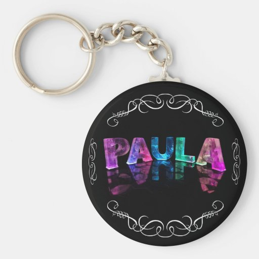 The Name Paula -  Name in Lights (Photograph) Key Chains