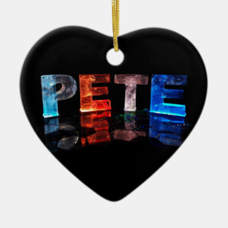 The Name Pete in 3D Lights (Photograph) Ceramic Heart Decoration