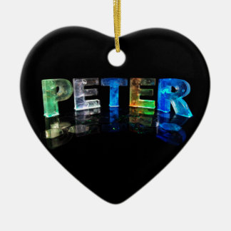 The Name Peter in 3D Lights (Photograph) Ceramic Heart Decoration