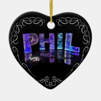 The Name Phil -  Name in Lights (Photograph) Ceramic Heart Decoration