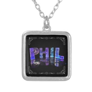The Name Phil - Name in Lights (Photograph) Personalised Necklace