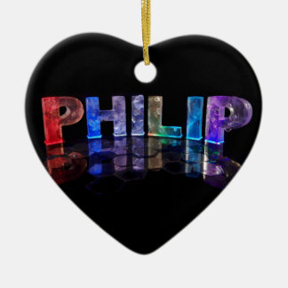 The Name Philip in 3D Lights (Photograph) Ceramic Heart Decoration
