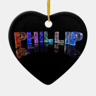 The Name Phillip in 3D Lights (Photograph) Ceramic Heart Decoration
