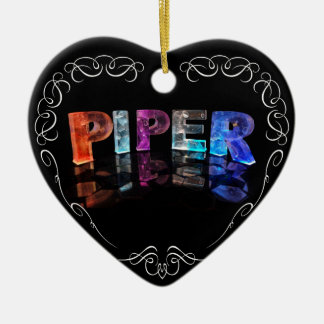 The Name Piper -  Name in Lights (Photograph) Ceramic Heart Decoration