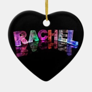 The Name Rachel in 3D Lights (Photograph) Ceramic Heart Decoration