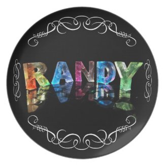 The Name Randy in 3D Lights (Photograph) Dinner Plates