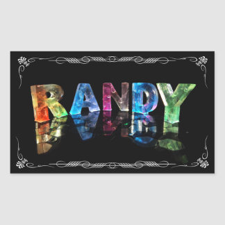 The Name Randy in 3D Lights (Photograph) Rectangular Sticker
